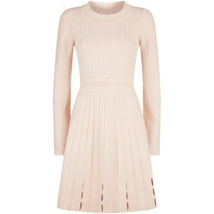 Sandro Terez Eyelet Knit Mini Dress Pink
